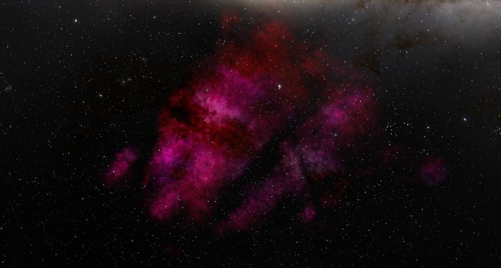La Nebulosa de la Quilla vista en Space Engine (con el brillo aumentado). Crédito: Space Engine