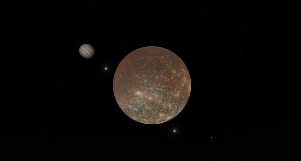 Calisto, uno de los satélites de Júpiter, y de fondo el planeta. Crédito: SpaceEngine