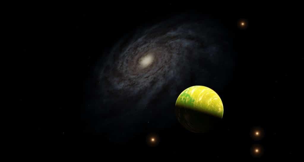 Un planeta (y varios asteroides en su órbita) en la Gran Nube de Magallanes con la Vía Láctea de fondo.