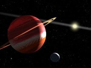 Concepto artístico de Epsilon Eridani b, con el cinturón de asteroides del sistema al fondo. Crédito: NASA, ESA, G. Bacon