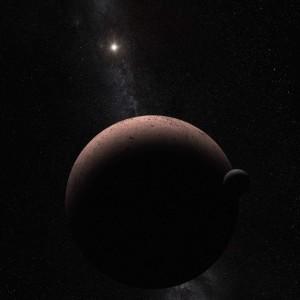 Este concepto artístico muestra al planeta enano Makemake y su luna recién descubierta. Makemake y su satélite, llamado MK 2, está 50 veces más del Sol que la Tierra. Crédito: NASA, ESA, y A. Parker (Southwest Research Institute)