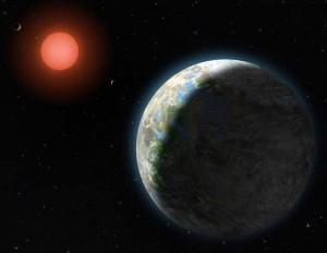 Concepto artístico de los cuatro planetas interiores de Gilese 581. El planeta en primer plano es Gliese 581g, que sería de dos a tres veces más masivo que la Tierra, y cuya existencia ha sido puesta en duda. Crédito: Lynette Cook