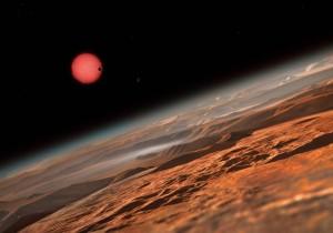 Este es otro concepto artístico del sistema planetario visto a cierta distancia de la superficie del planeta más alejado. Crédito: ESO/M. Kornmesser