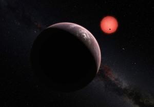 Concepto artístico de TRAPPIST-1 y sus tres planetas. Crédito: ESO/M. Kornmesser/N. Risinger (skysurvey.org)