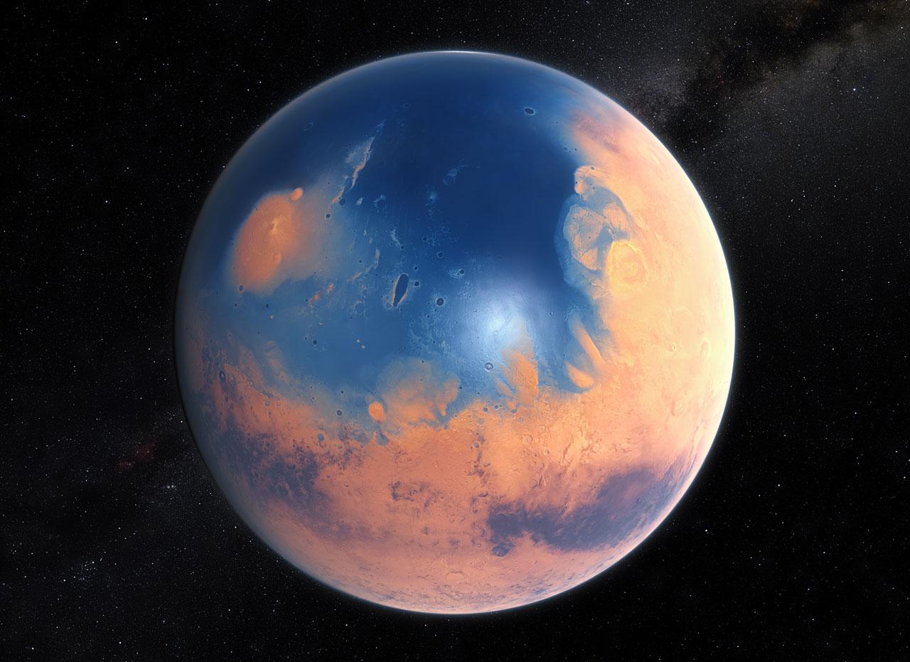 Marte podría tener lagos salados bajo el polo sur