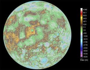 Imagen del mapa de superficie de Mercurio. Crédito: NASA/U.S. Geological Survey/Arizona State University/Carnegie Institution of Washington/Johns Hopkins University Applied Physics Laboratory