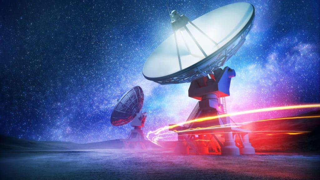 Recreación artística de una antena de radiotelescopio. Crédito: Solarseven/Shutterstock