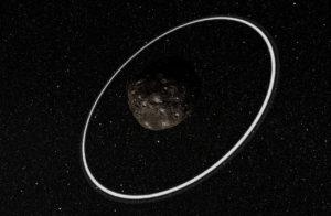 Concepto artístico de Cariclo y sus anillos. Crédito: ESO/L. Calçada/M. Kornmesser/Nick Risinger