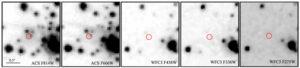 Esta sucesión de imágenes del telescopio Hubble muestra el objeto en el espectro visible, desde el rojo al azul, de izquierda a derecha. Nos revela que sólo es visible, tenuemente, en las longitudes de onda del rojo. Crédito: Tetarenko et al.