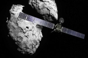 Recreación artística de Rosetta alrededor del cometa 67P/Churyumov-Gerasimenko. Crédito: ESA / ATG medialab / Rosetta / Navcam
