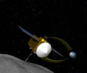 Concepto artístico de OSIRIS-REx recogiendo una muestra de material de Bennu. Crédito: NASA