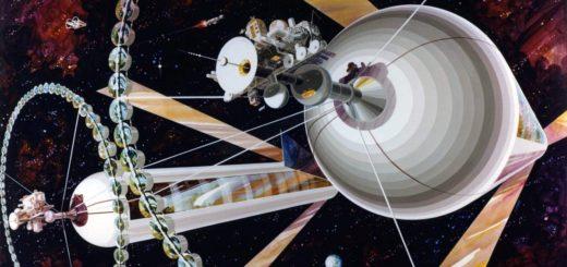 Concepto artístico de varios cilindros de O'Neill. Crédito: Rick Guidice NASA Ames Research Center