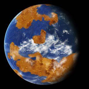 Recreación de cómo hubiera podido ser Venus en sus primeros 2.000 millones de años, cuando podría haber sido un planeta mucho más frío, con un océano poco profundo y una atmósfera mucho más fina. Crédito: NASA