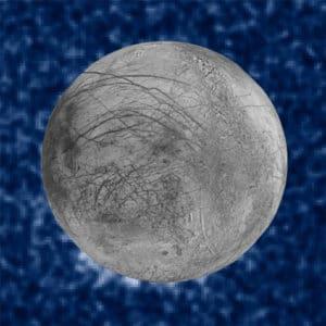 Esta composición de imágenes muestra los posibles penachos de agua. Están en la parte inferior izquierda de la imagen, en lo que serían las siete de la tarde si fuese un reloj. Crédito: NASA/ESA/W. Sparks (STScI)/USGS Astrogeology Science Center