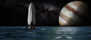 Concepto artístico del STI posándose en la superficie de Europa. Crédito: Elon Musk/SpaceX