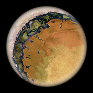 Concepto artístico de una Tierra en forma de ojo. Es posible que lugares como Próxima b sean parecidos a ésto... Crédito: Beau. The Consortium