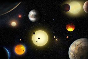 Ilustración de varias estrellas y exoplanetas. Crédito: NASA/Tim Pyle