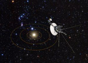 En este concepto artístico, la sonda Voyager 1 observa el Sistema Solar a vista de pájaro. Los círculos representan las órbitas de los planetas gigantes.  Crédito: NASA, ESA, y J. Zachary y S. Redfield (Wesleyan University); Crédito de la ilustración artística: NASA, ESA, y G. Bacon (STScI).