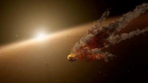 Concepto artístico de KIC 8462852 destruyendo un pequeño planeta.