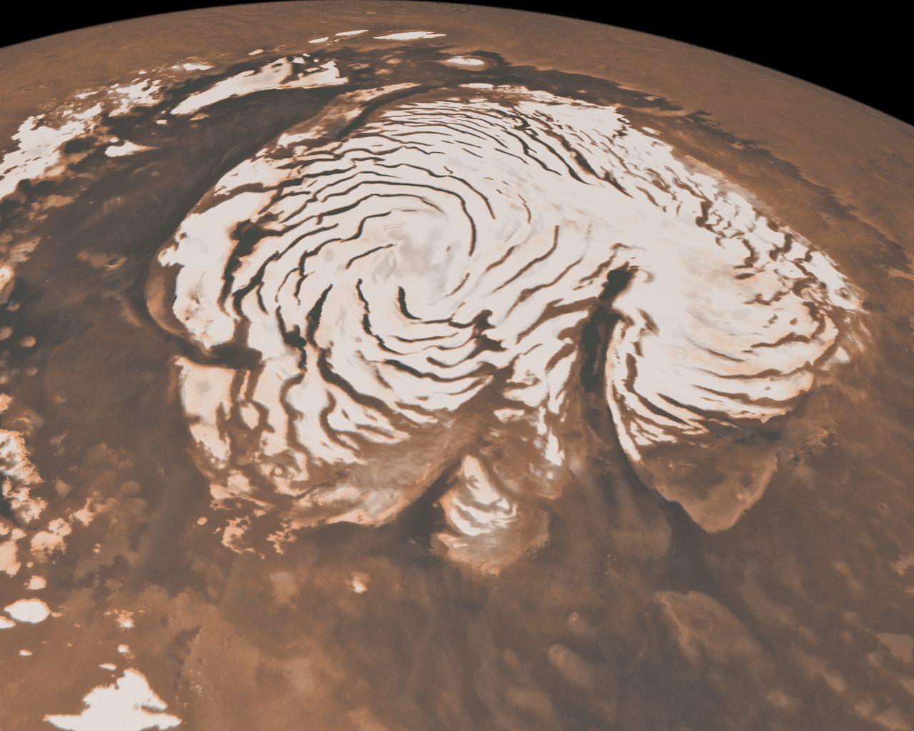 Podría caer nieve en Marte durante las noches