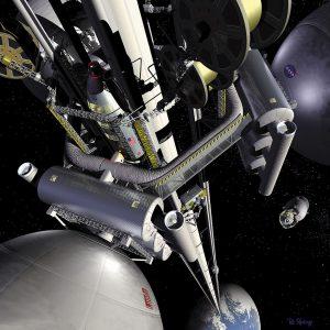 Concepto artístico de un ascensor espacial con una estación espacial de contrapeso.