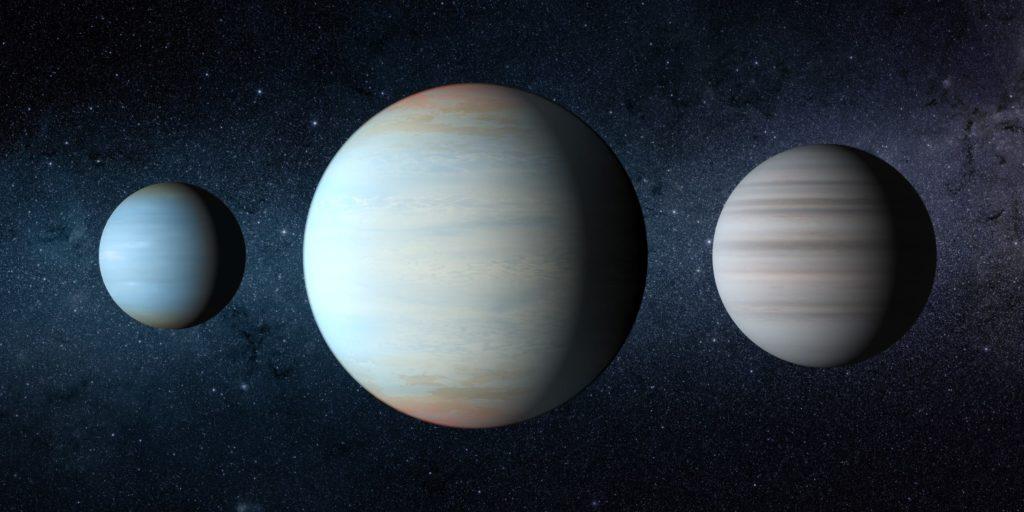 Concepto artístico de Kepler-47b, Kepler-47d y Kepler-47c.