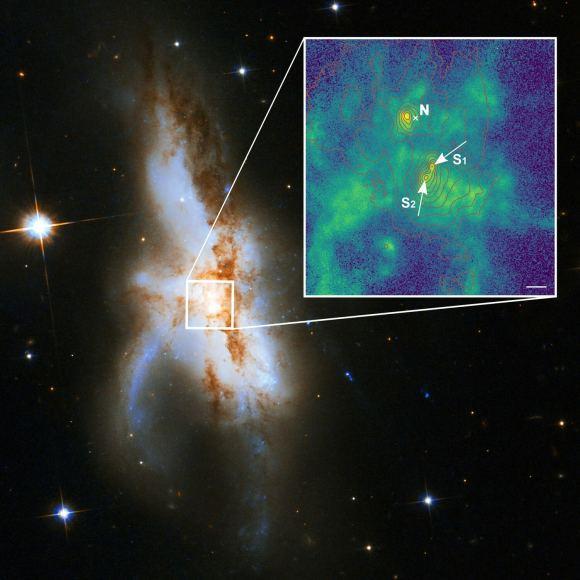 NGC 6240: una galaxia con tres agujeros negros supermasivos